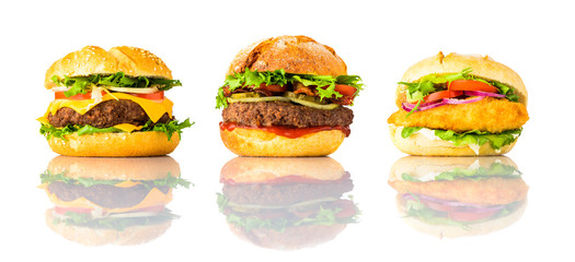 Hamburger, Cheeseburger and Chicken burger on White Background