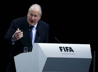 Chairman of the 2016 Reform Committee Carrard addresses the Extraordinary FIFA Congress in Zurich