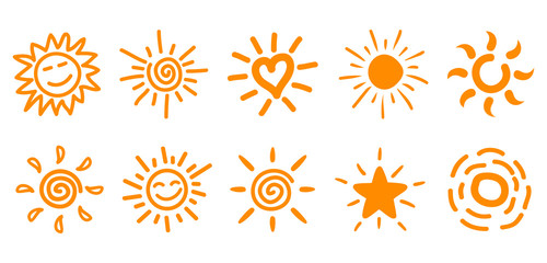 Collection of drawn sun icons, set 2