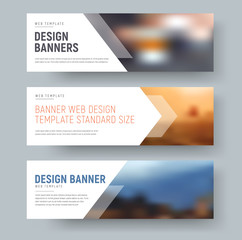 Wall Mural - Design of standard horizontal web banners with space for photo and text.
