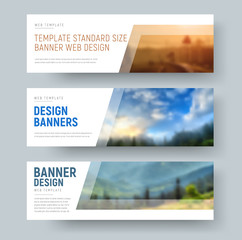 Wall Mural - Design of standard white horizontal web banners with space for images and text.