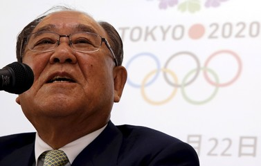 File photo of Mitarai, chair of the Tokyo 2020 Additional Event Programme Panel, speaking during a news conference after the meeting of the Tokyo 2020 Olympic Games Additional Event Programme Panel in Tokyo