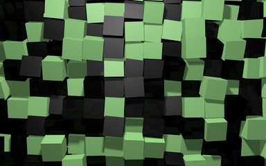 Abstract beautiful creative background of black and green extended and dented random rotated cubes wall with reflections for desktop, site, banner, backdrop, wallpapper. 3d Render Illustration