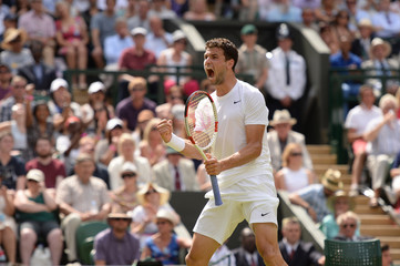 Men's Singles - Bulgaria's Grigor Dimitrov celebrates winning the second set during his quarter final match