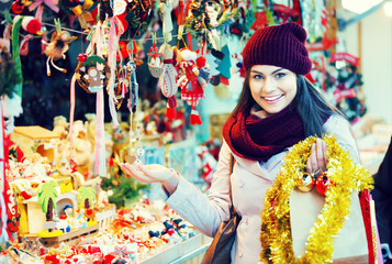Girl shopping at festive fair