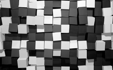 Abstract beautiful creative background of black and white extended and dented random rotated cubes wall with reflections for desktop, site, banner, backdrop, wallpapper. 3d Render Illustration