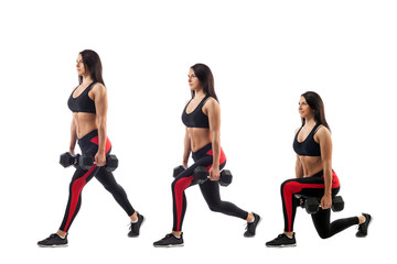 Technique exercises for the buttocks with dumbbells in hands on a white isolated background, sports woman, left side