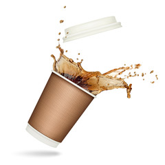 Coffee splash in paper cup isolated on white background