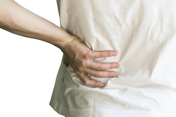 Close up of a man's hand holding his back - back pain concept