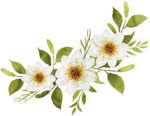 White watercolor flowers bouquet decoration with white dahlia