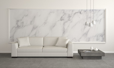 modern living room with marble wall