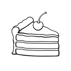 Vector illustration. Hand drawn doodle of a piece of cake with cream and cherry. Cartoon sketch.  Decoration for menus, signboards, showcases, greeting cards, wallpapers