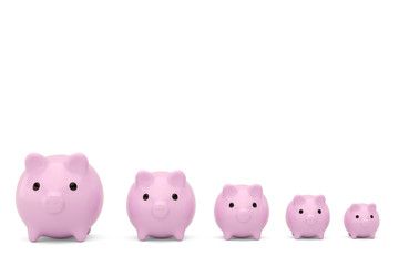 Pink piggy bank array on a white isolated background.3D illustration.