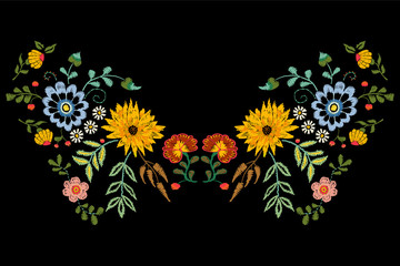 Embroidery native neckline pattern with fantasy flowers. Vector embroidered traditional floral design for fashion wearing.