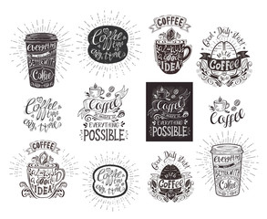 Set of coffee quotes. Vector hand-drawn lettering.