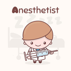 Cute chibi kawaii characters. Alphabet professions. The Letter A - Anesthetist.