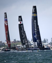 AC45F racing sailboat Artemis Racing leads Emirates Team New Zealand and SoftBank Team Japan during race 2 on their way to winning America's Cup World Series sailing competition in Hamilton