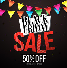 Black Friday sale vector banner design with colorful hanging streamers in black background for store marketing promotions. Vector illustration.