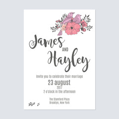 Flower wedding invitation card template vector with a bouquet and a bird in the corner