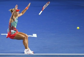 Germany's Kerber celebrates after winning her final match against Williams of the U.S. at the Australian Open tennis tournament at Melbourne Park