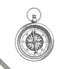 Vintage Compass hand drawing black and white clipart