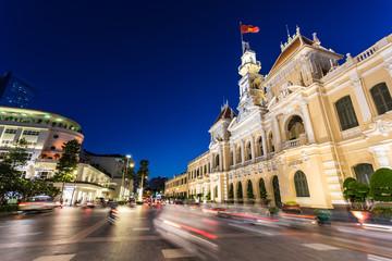 Night traffic in Ho Chi Minh City in Vietnam