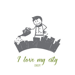 Vector hand drawn I love my city concept sketch. Man standing and pouring his city from watering can