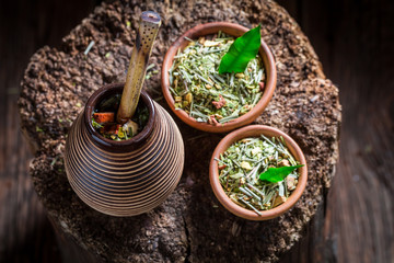 Full of flavor yerba mate made of fresh dried leaves