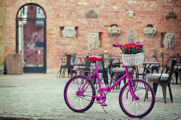 pink bike standing on place