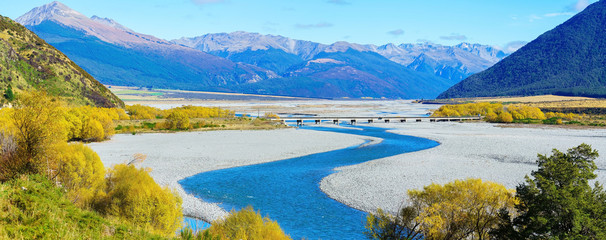 Poster Nieuw Zeeland Panoramic image of beautiful scenery of Arthur's pass National Park in Autumn , South Island of New Zealand