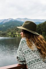 Trendy girl on nature