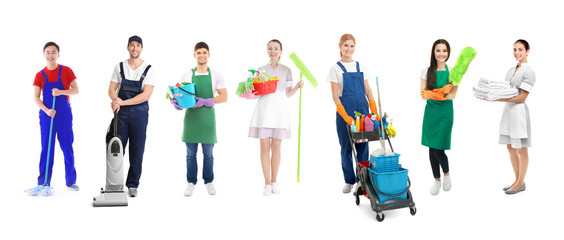 Professional staff of cleaning service on white background