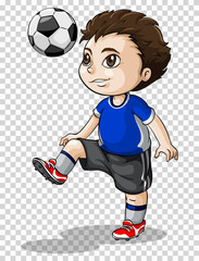 Boy playing football on transparent background
