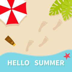 Hello summer. Top aerial view. Beach, sea ocean, sand, red umbrella, palm tree leaf, star fish, spf cream lotion, bare foot print. Greeting card. Summer time background. Flat design.