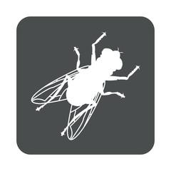 Icono plano mosca en cuadrado gris