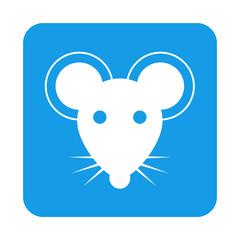 Icono plano raton en cuadrado azul