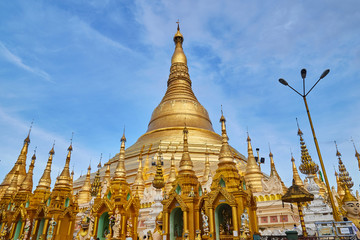 Shwedagon Paya pagoda Myanmer famous sacred place and tourist attraction landmark.Yangon, Myanmar