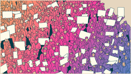 Illustration of a crowd protesting