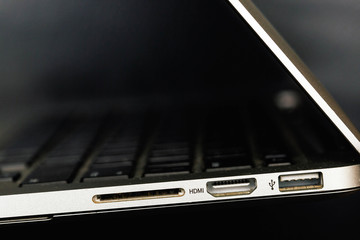 HDMI and USB ports on the laptop