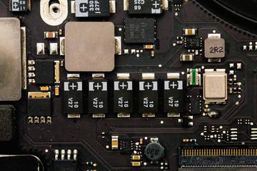 Close-up of laptop's microcircuit