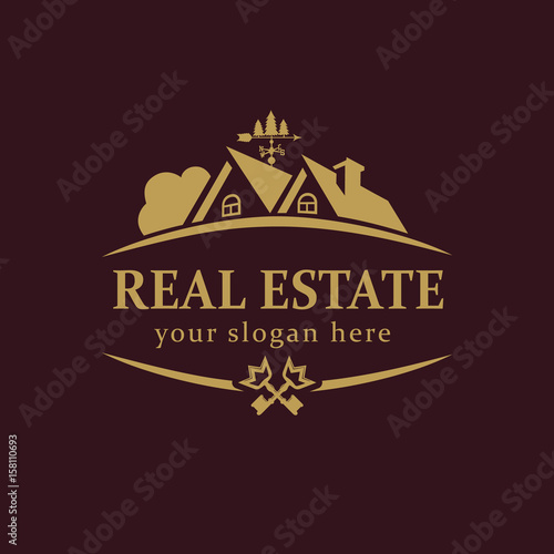 real estate vector logo house for sale or build sign template