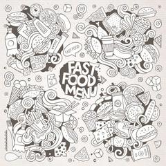 Line art vector hand drawn doodles cartoon set of food objects