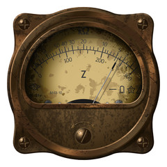 The ohmmeter in grunge or steampunk style. Device for measuring electrical resistance.
