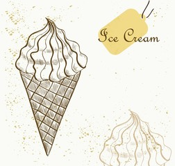 Ice Cream cone vector sketch illustration
