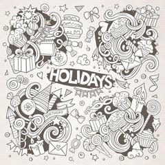 Line art set of holidays doodle designs