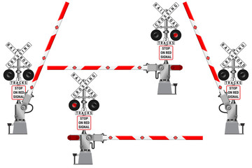 Railway barriers in the open and closed position and a road sign with the railway crossing.