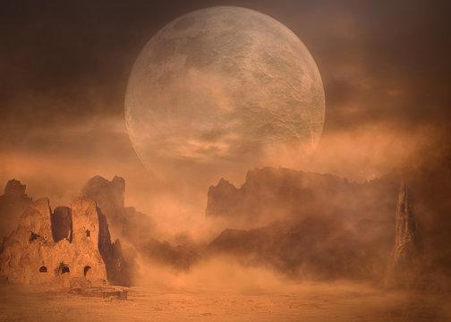 Full moon on desert mountain peaks at sand storm