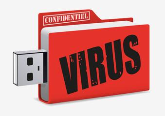 virus - cyber attaque - internet - informatique - sécurité - clé USB