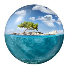 Tuinposter Eiland Idyllic small island with lone tree as globe