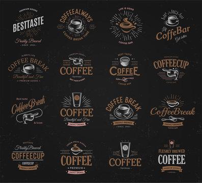 Coffee vintage logos set. Freshly brewed caffeine dark drink logotype. Premium goods latte and espresso business retro logo collection design.Modern lettering badge for cappuccino cafe or restaurants.